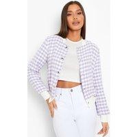 Womens Boucle Button Detail Jacket - Purple - 8, Purple