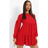 Womens Long Sleeve Smock Dress - Red - 12, Red