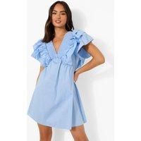 Womens Statement Ruffle Smock Dress - Blue - 16, Blue