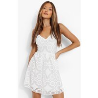Womens All Over Lace Ruffle Skater Dress - White - 16, White
