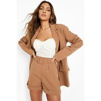 Womens Self Fabric Belted Longline Shorts - Brown - 14, Brown