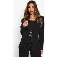 Womens Tailored Plunge Front Blazer - Black - 16, Black