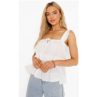 Womens Strappy Tiered Smock Top - White - 6, White