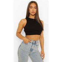 Womens Rib Back Cut Out Sleeveless Crop Top - Black - 10, Black