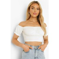 Womens Dobby Mesh Off Shoulder Crop Top - White - 10, White