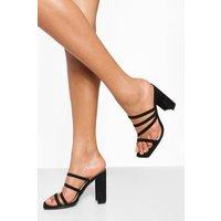 Womens Multi Strap Block Heel Mule - Black - 5, Black