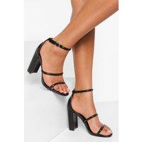 Womens Triple Strap Croc Block Heel Sandal - Black - 7, Black