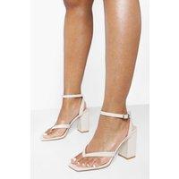 Womens Toe Post Lace Up Block Heel - White - 4, White
