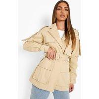 Womens Belted Utility Jacket - Beige - 8, Beige