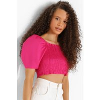 Womens Cotton Puff Sleeve Top - Pink - 6, Pink