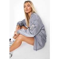 Womens Embroidered Oversized Varsity Bomber Jacket - Grey -