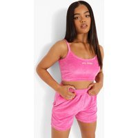 Womens Velour Scoop Neck Crop Top - Pink - 12, Pink