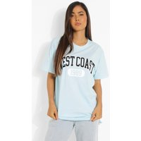 Womens West Coast Printed Oversized T-Shirt - Blue - Xs, Blue