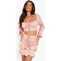 Womens Matte Satin Lace Up Sweetheart Corset - Pink - 10, Pink