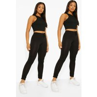 Womens 2 Pack Tie Detail Cuffed Hem Leggings - Black - 10, Black