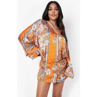 Womens Floral Print Chain Belted Shirt Dress - Orange - 18, Orange