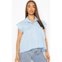 Womens Sleeveless Smock Shirt - Blue - 12, Blue