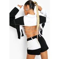 Womens Patchwork Denim Chain Detail Denim Jacket - Black - 1