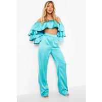 Womens Satin Wide Leg Trousers - Blue - 10, Blue