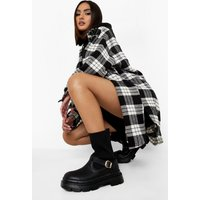 Buckle Detail Knitted Calf High Boot