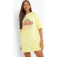 Womens Colorado Dropped Shoulder T Shirt Dress - Yellow - 12, Yellow
