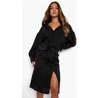 Womens Twist Knot Front Midi Skirt - Black - 8, Black
