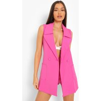Womens Sleeveless Tailored Blazer - Pink - 14, Pink