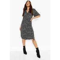 Womens Smudge Print Midi Shirt Dress - Black - 8, Black