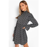 Womens Shirred High Neck Ruffle Shoulder Smock Dress - Black - 18, Black