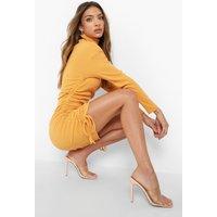 Womens Long Sleeve Rouched Roll Neck Mini Dress - Beige - 6, Beige