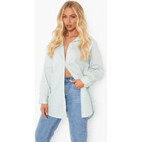 Womens Pastel Stripe Oversized Shirt - Blue - 14, Blue