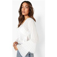 Womens Sheer Stripe V Neck Ruffle Detail Blouse - White - 14, White