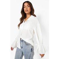 Womens Tie Detail Oversized Shirt - White - 8, White