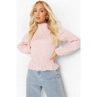 Womens Sheered Volume Sleeve Top - Pink - 6, Pink