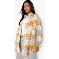 Womens Oversized Heavy Check Shirt - Yellow - M, Yellow