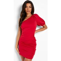 Womens Puff One Shoulder Ruched Mini Dress - Red - 12, Red