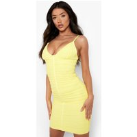 Womens Premium Bandage Ruched Front Bodycon Dress - Yellow - 8, Yellow