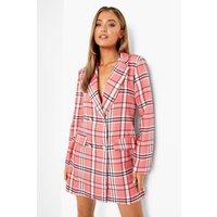 Boohoo Womens Check Print Blazer Dress - Pink - 16, Pink FZZ2503615524