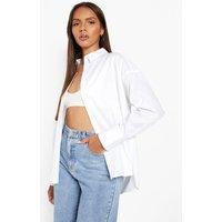 Womens Oversized Cotton Shirt - White - L, White