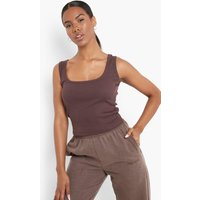 Womens Square Neck Vest - Brown - 14, Brown