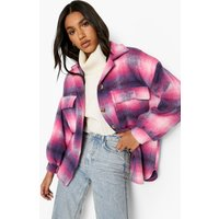Womens Pink Oversized Check Shacket - 14, Pink