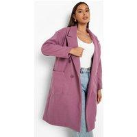 Womens Double Breasted Pocket Detail Wool Look Coat - Purple - 16, Purple