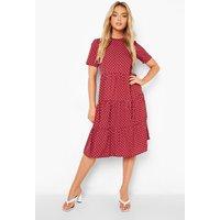 Womens Polka Dot Smock Midi Dress - Red - 8, Red