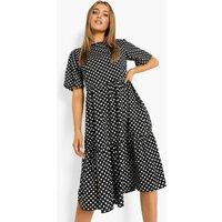 Womens Polka Dot Midi Smock Dress - Black - 10, Black