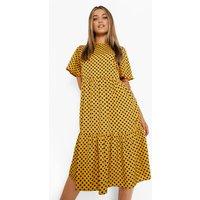 Womens Polka Dot Midi Smock Dress - Yellow - 18, Yellow