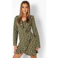Womens Woven Ditsy Floral Print Ruffle Tea Dress - Green - 16, Green