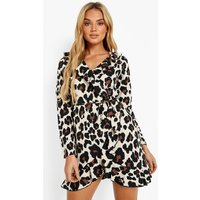 Womens Woven Leopard Print Ruffle Tea Dress - Brown - 8, Brown