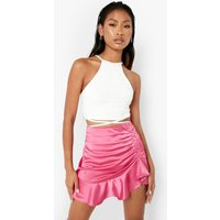Womens Woven Frill Hem Ruched Detail Mini Skirt - Pink - 12, Pink