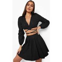 Womens Leather Look Volume Sleeve Wrap Shirt - Black - 8, Black