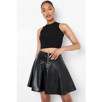 Womens Zip Pu Detailed Panel Skater Skirt - Black - 12, Black